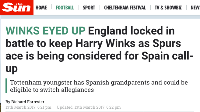 harry winks the sun spurs