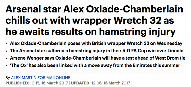 Alex Oxlade-Chamberlain Arsenal Daily Mail