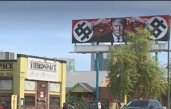 Anti-Trump swastika billboard in Phoenix road is more stupid that anything you'll see in the White House