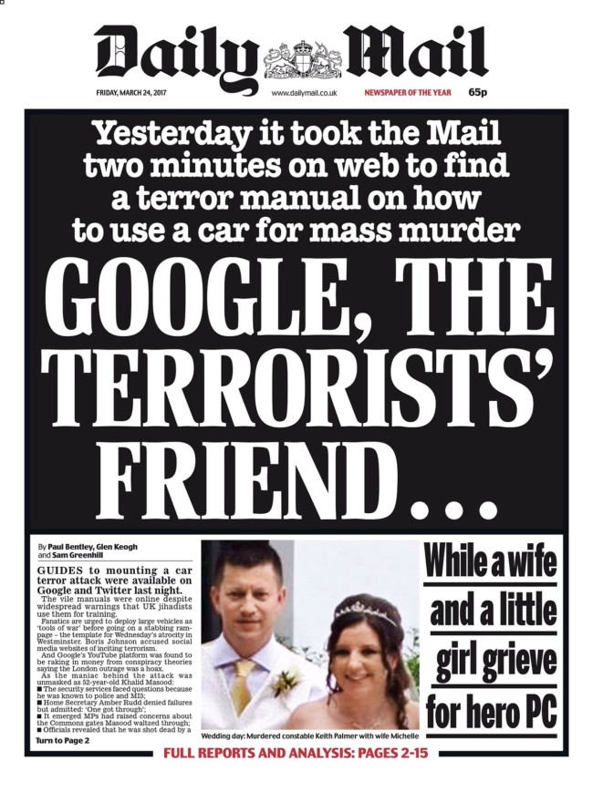 google terror daily mail