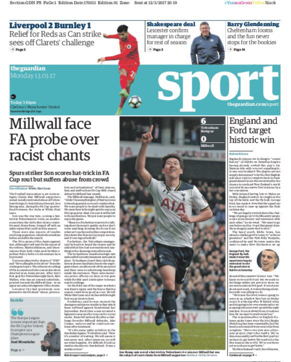 spurs son millwall racism the guardian