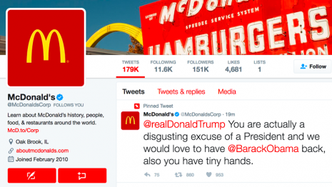 twitter trumps tiny hands mcdonald's
