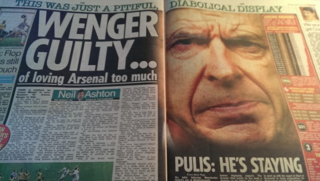 wenger the sun staying arsenal
