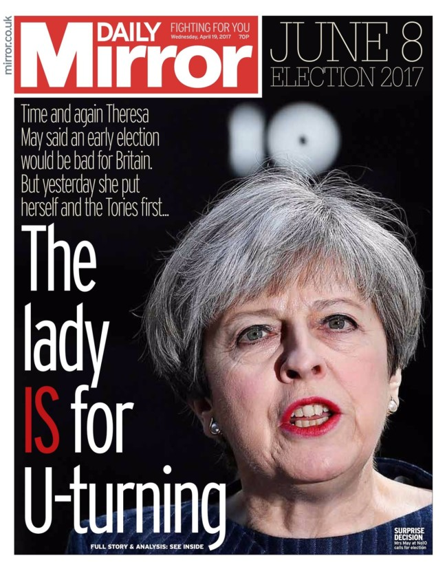 daily mirror u-turn may theresa