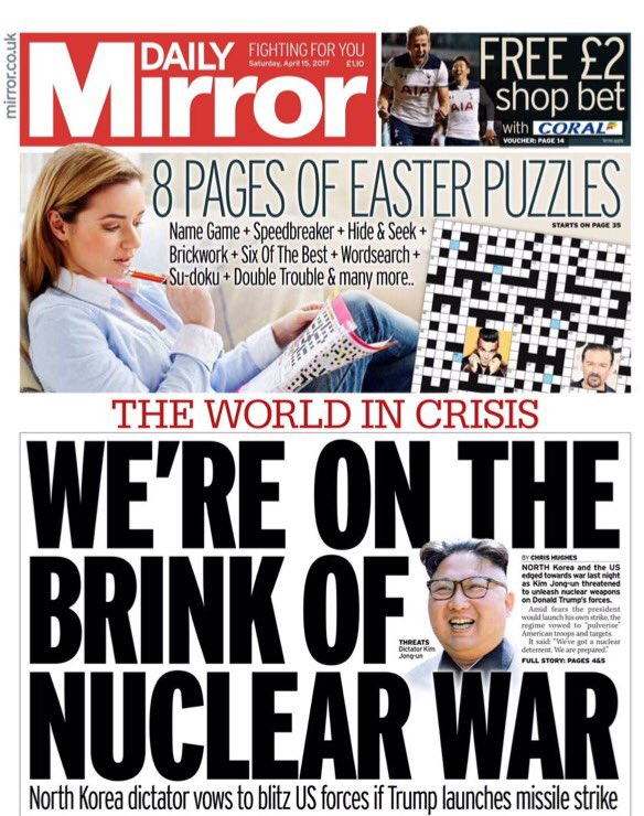 daily mirror death trump war