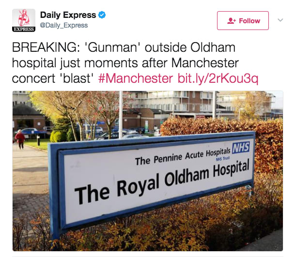 Daily Express fake news gunman Manchester