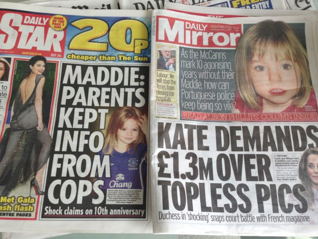 madeleine mccann newspapers
