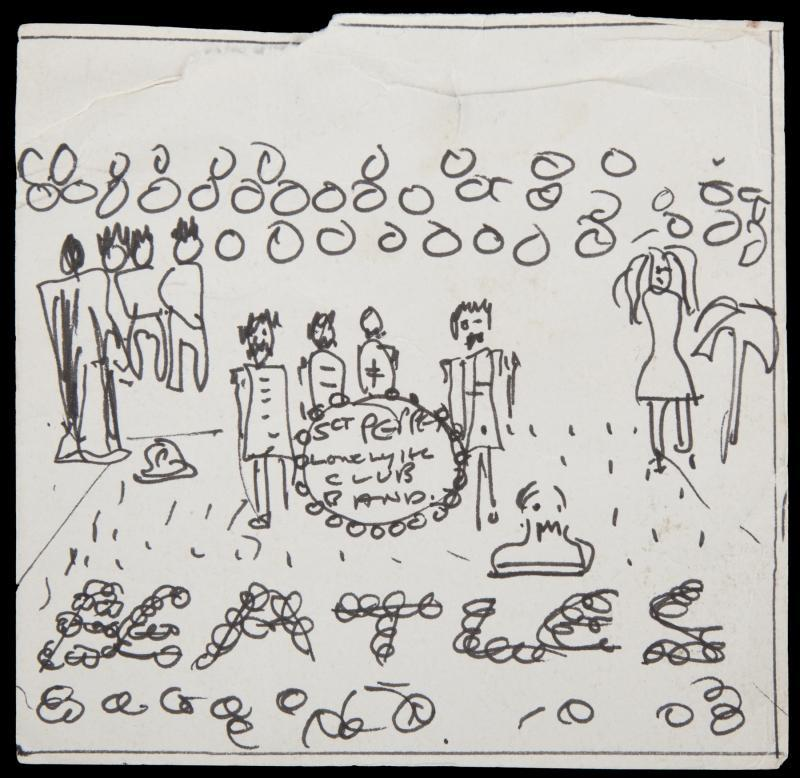 John Lennon's former home found an old sketchbook containing this tiny sketch of the john lennon art Sgt. Pepper's Lonely Hearts Club Band