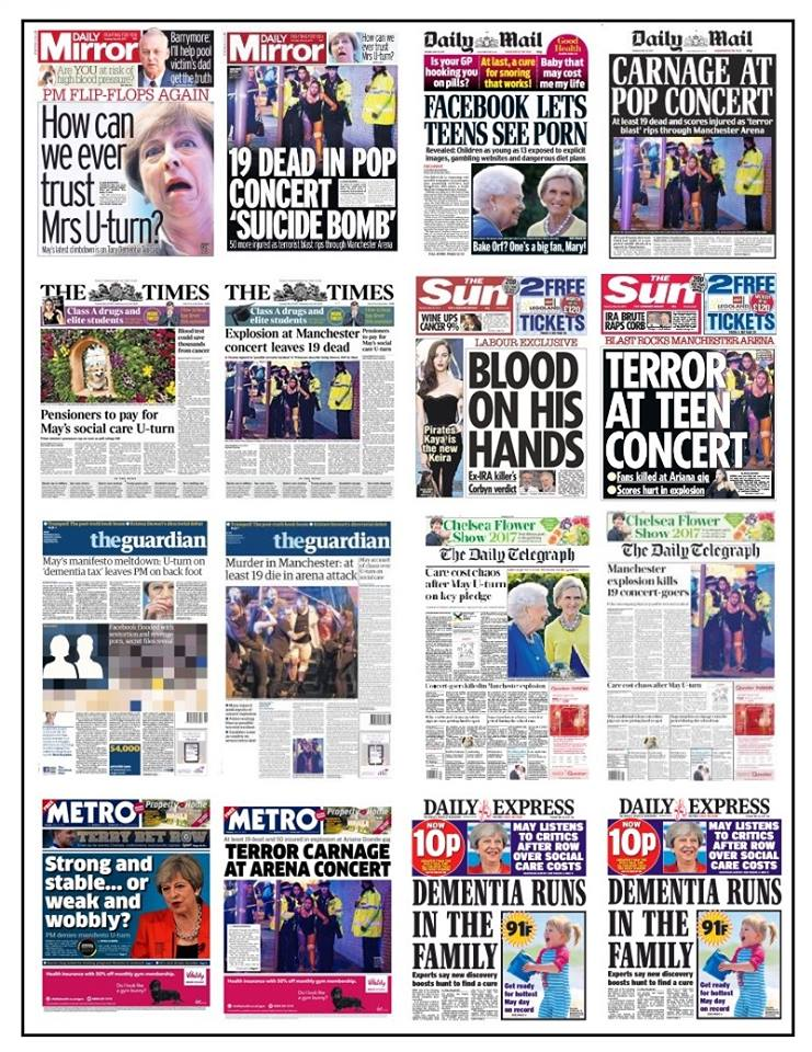 Manchester bomb front pages