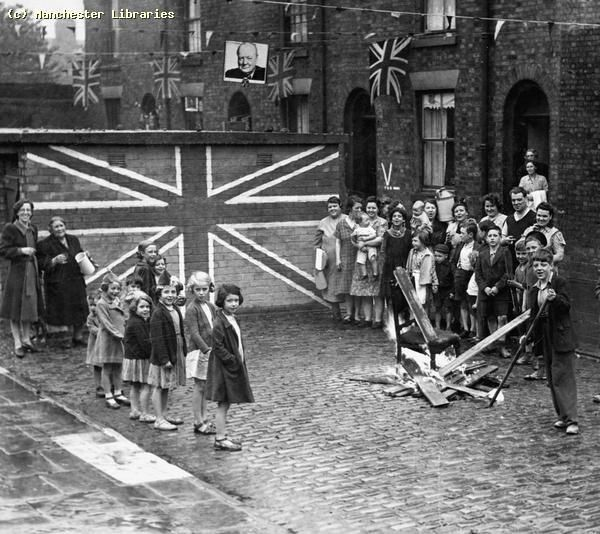 Children, Childrens Street Party, Rosamund Street Chorlton on Medlock, V E Day (Victory in Europe, end of World War II) Date //1945