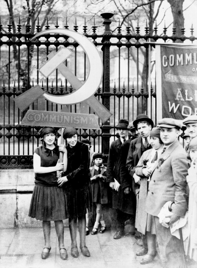 May 1, 1928 Communists in London celebrating May Day.