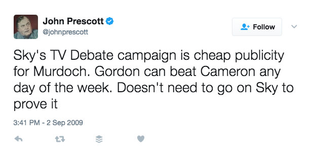 Sky's TV debate campaign is cheap publicity for Murdoch. Gordon can beat Cameron any day of the week. Doesn't need to go on Sky to prove it