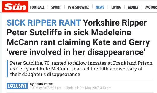 Yorkshire Ripper Madeleine Mcann