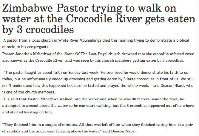 pastor eaten by crocodiles