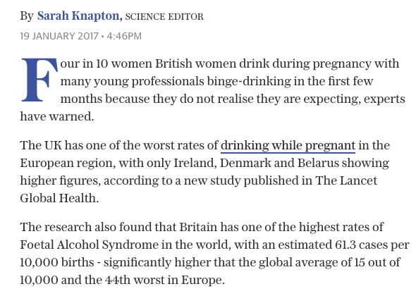 pregnancy drinking daily telegraph