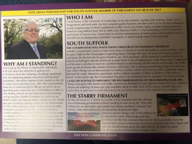 UKIP flyer funny GE17
