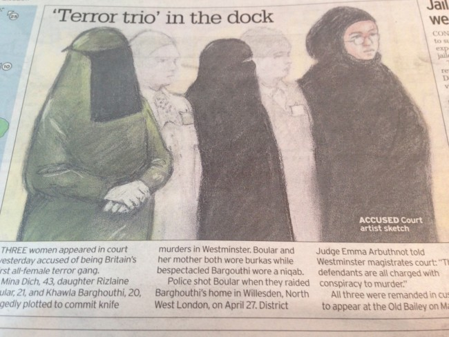 accused terrorists veil in court