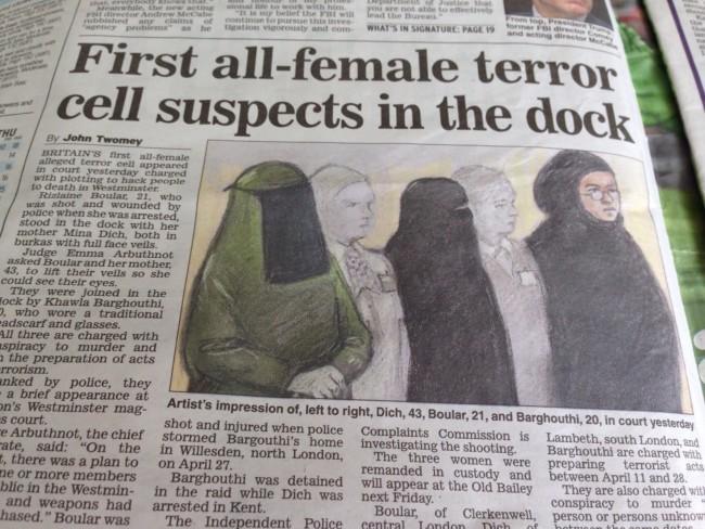 accused terrorists veil in court