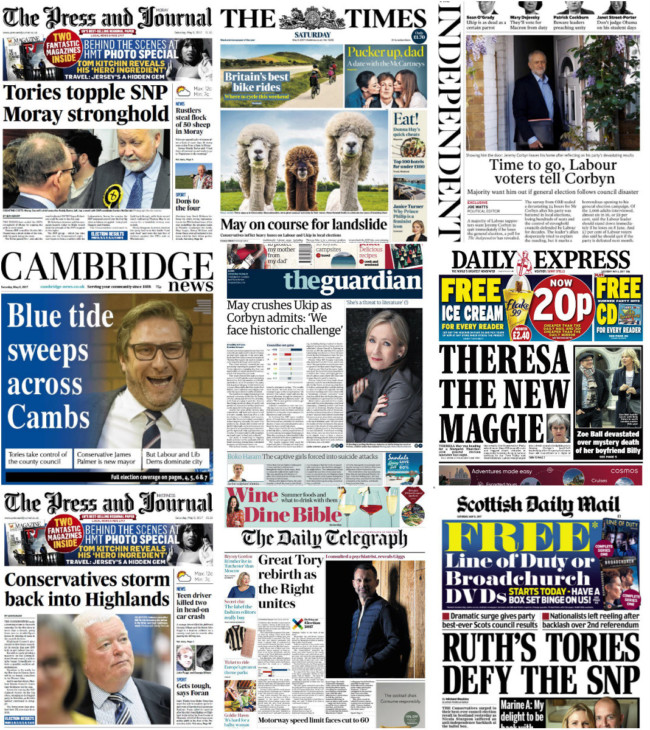 council elections theresa may corbyn newspapers