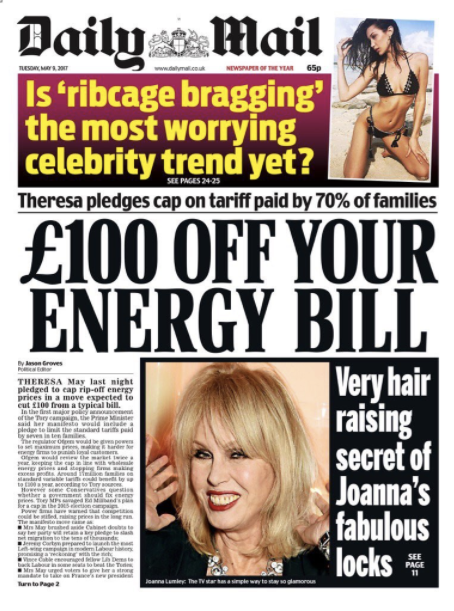 daily mail energy bills theresa may