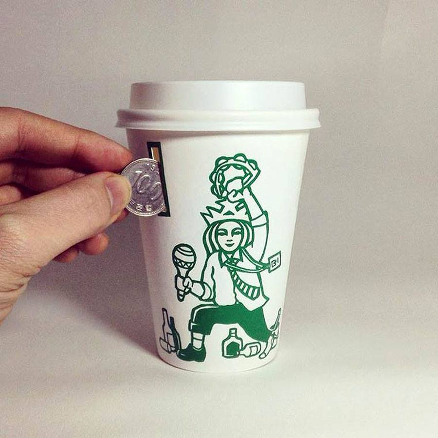 starbucks cup  art