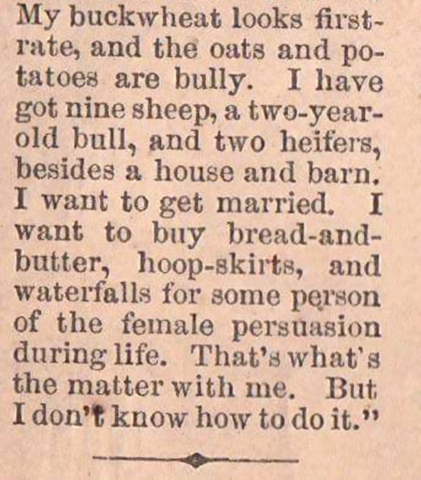 19th century man looking for wife advert