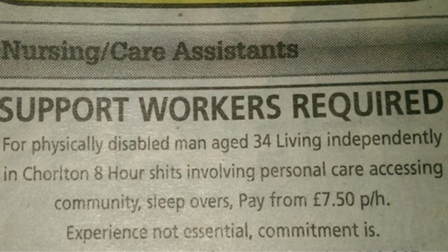 job advert fail
