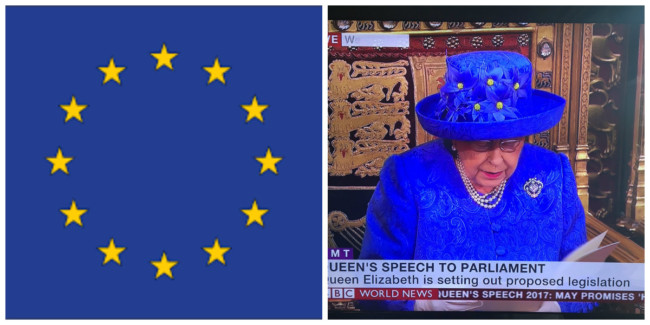 EU flag hat Queen
