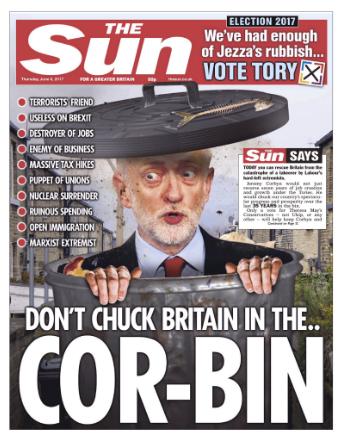 Corbyn the sun bin