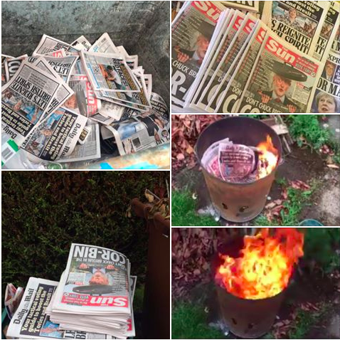 GE17 burning newspapers