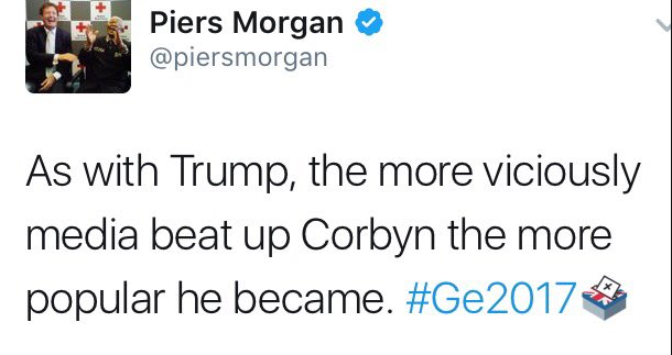 Piers Morgan election predictions fail 2017