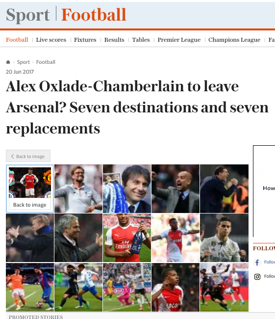 clickbait arsenal telegraph