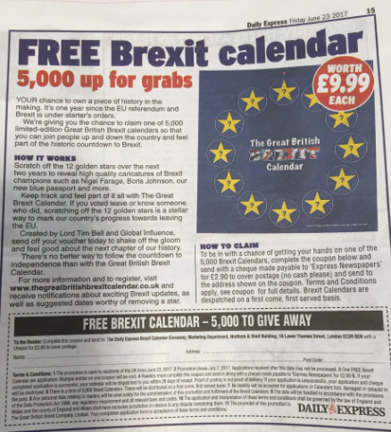 Daily Express free Brexit calendar