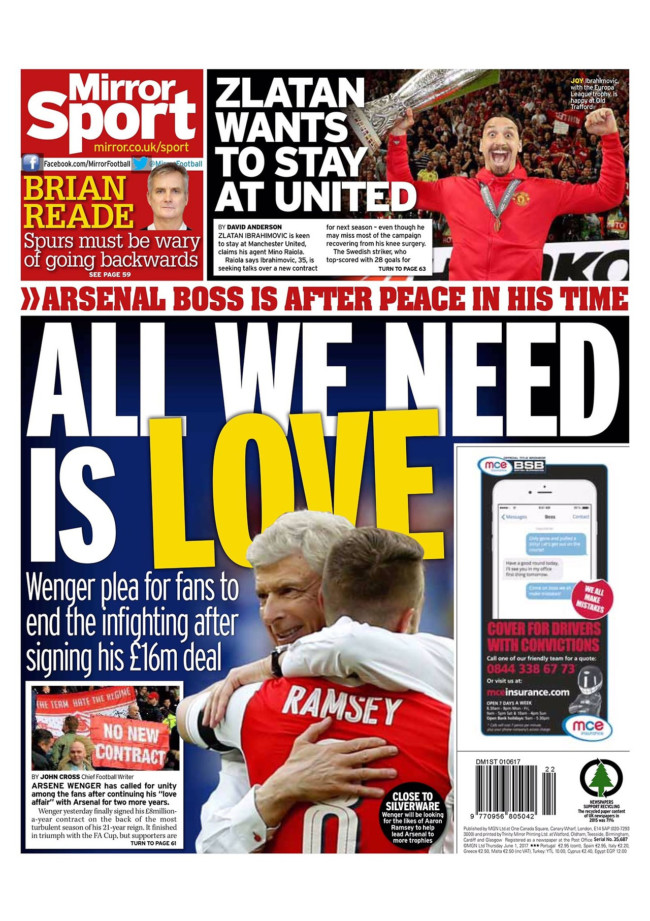 wenger arsenal mirror