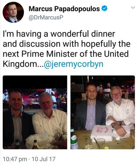 Marcus Papadopoulos corbyn pizza