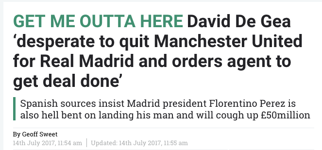 GET ME OUTTA HERE David De Gea 'desperate to quit Manchester United for Real Madrid and orders agent to get deal done'