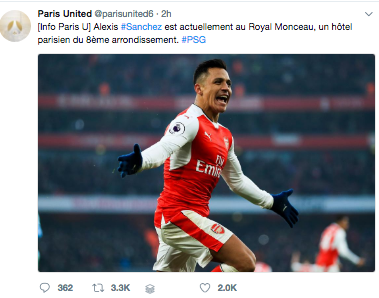 alexis sanchez arsenal PSG
