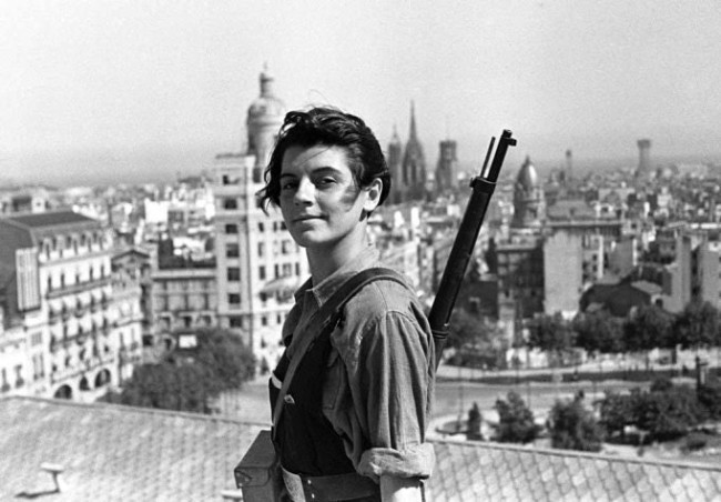 Marina Ginesta, anti-fascist fighter during the Spanish Civil War. This picture was taken in Barcelona in the summer of 1936.