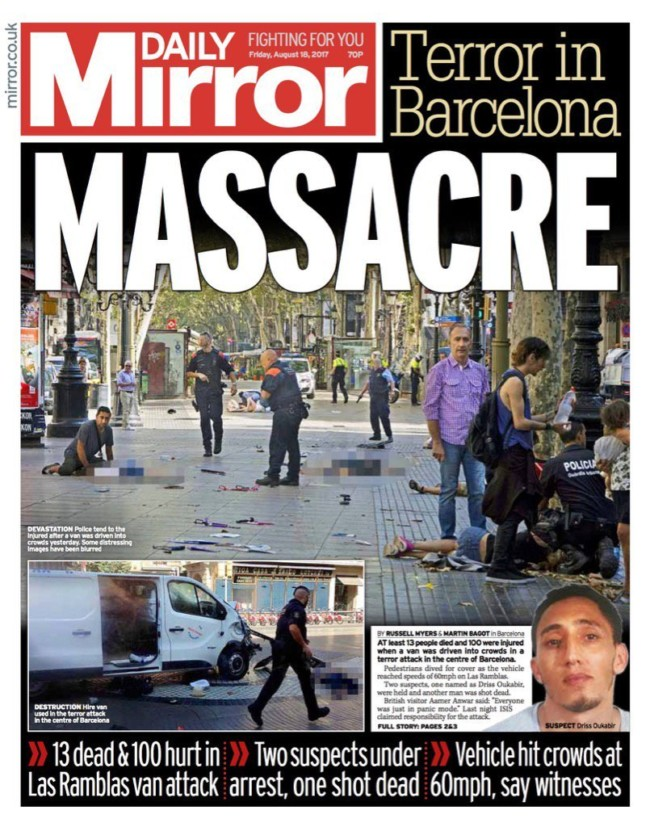 barcelona terror newspapers
