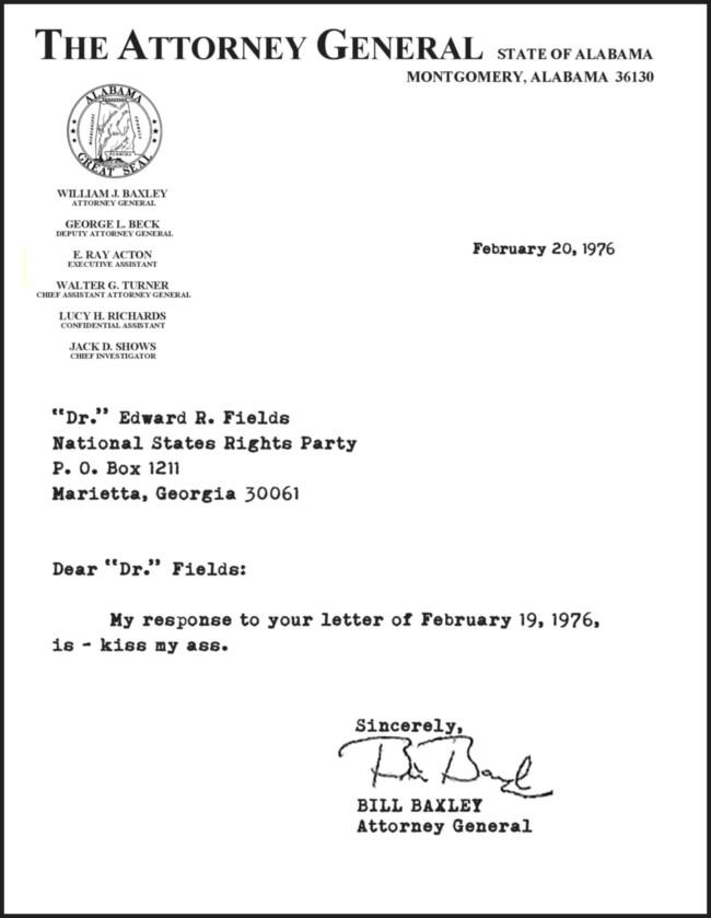 Bill baxley-letter-letter bombing