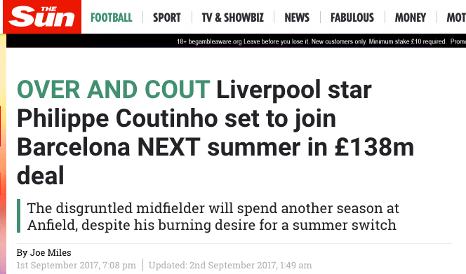 Philippe Coutinho liverpool the sun