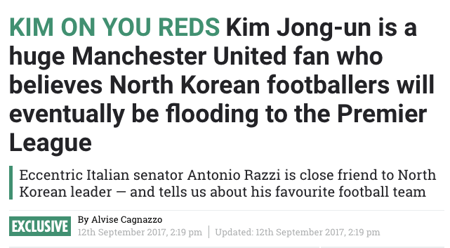 the sun North Korea Manchester United