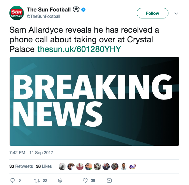 the sun sam allardyce crustal palace