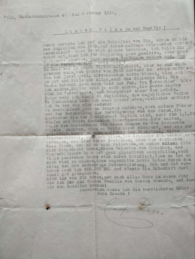 letter 1936 Jews Nazis antisemitism