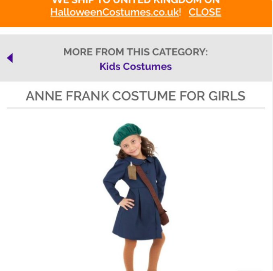 halloween costume gils anne frank