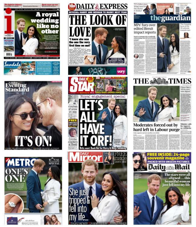 Prince Harry wedding newspapers