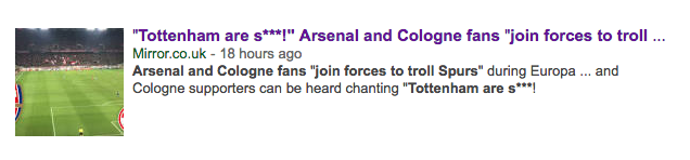 Come On Effzeh! The Daily Mirror trolls Arenal and Spurs fans by misreporting FC Cologne song