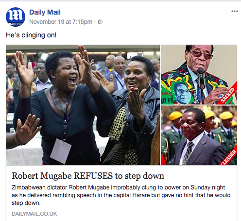 robert mugabe daily mail error
