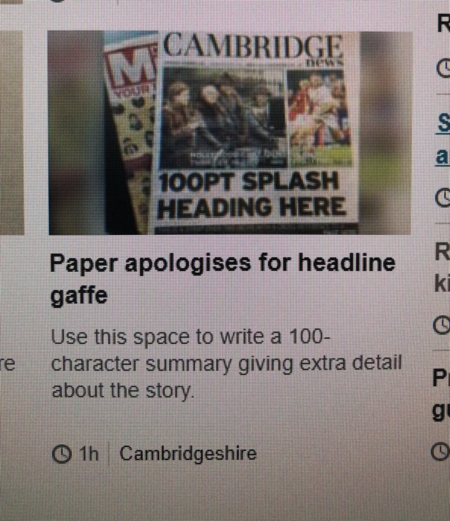 cambridge news typo