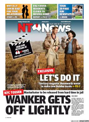 NT news australia wanker tosser front page
